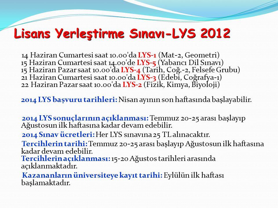 Lisans Yerleştirme Sınavı-LYS 2012 14 Haziran Cumartesi saat 10.00 da LYS-1 (Mat-2, Geometri) 15 Haziran Cumartesi saat 14.00 de LYS-5 (Yabancı Dil Sınavı) 15 Haziran Pazar saat 10.00 da LYS-4 (Tarih, Coğ.-2, Felsefe Grubu) 21 Haziran Cumartesi saat 10.00 da LYS-3 (Edebi, Coğrafya-1) 22 Haziran Pazar saat 10.00 da LYS-2 (Fizik, Kimya, Biyoloji) 2014 LYS başvuru tarihleri: Nisan ayının son haftasında başlayabilir.