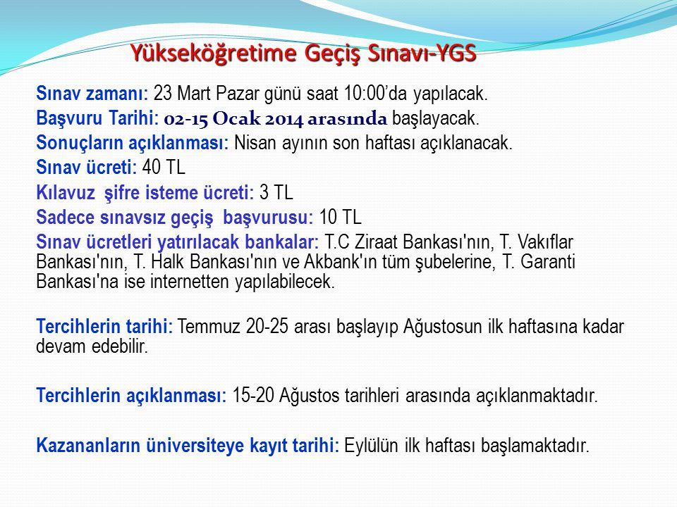 Yükseköğretime Geçiş Sınavı-YGS 1.
