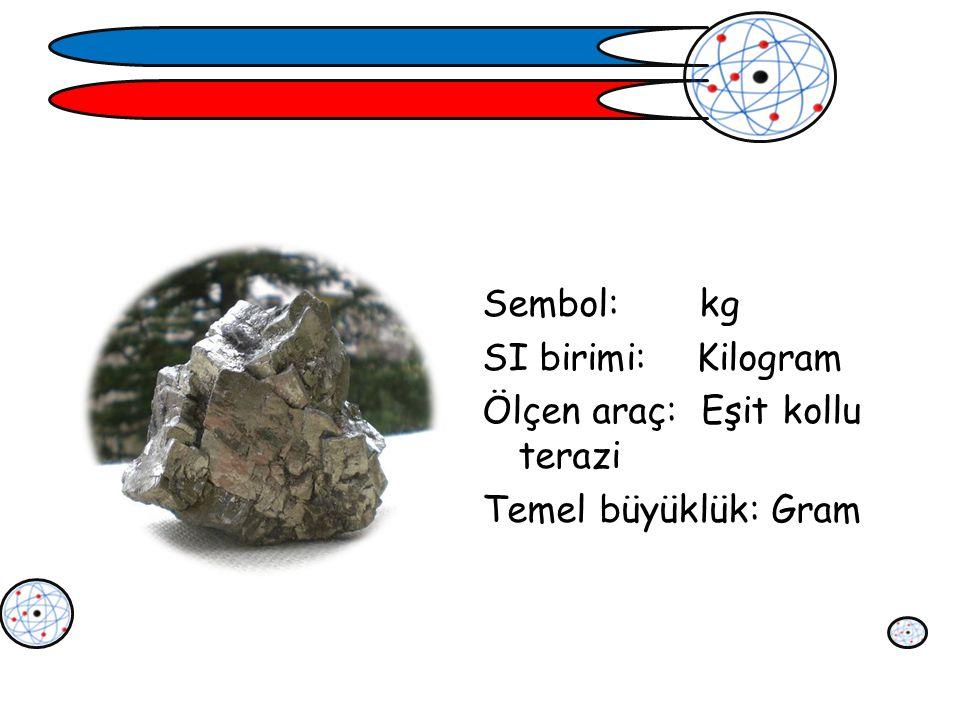 Sembol: kg SI birimi: Kilogram Ölçen araç: Eşit kollu terazi Temel büyüklük: Gram