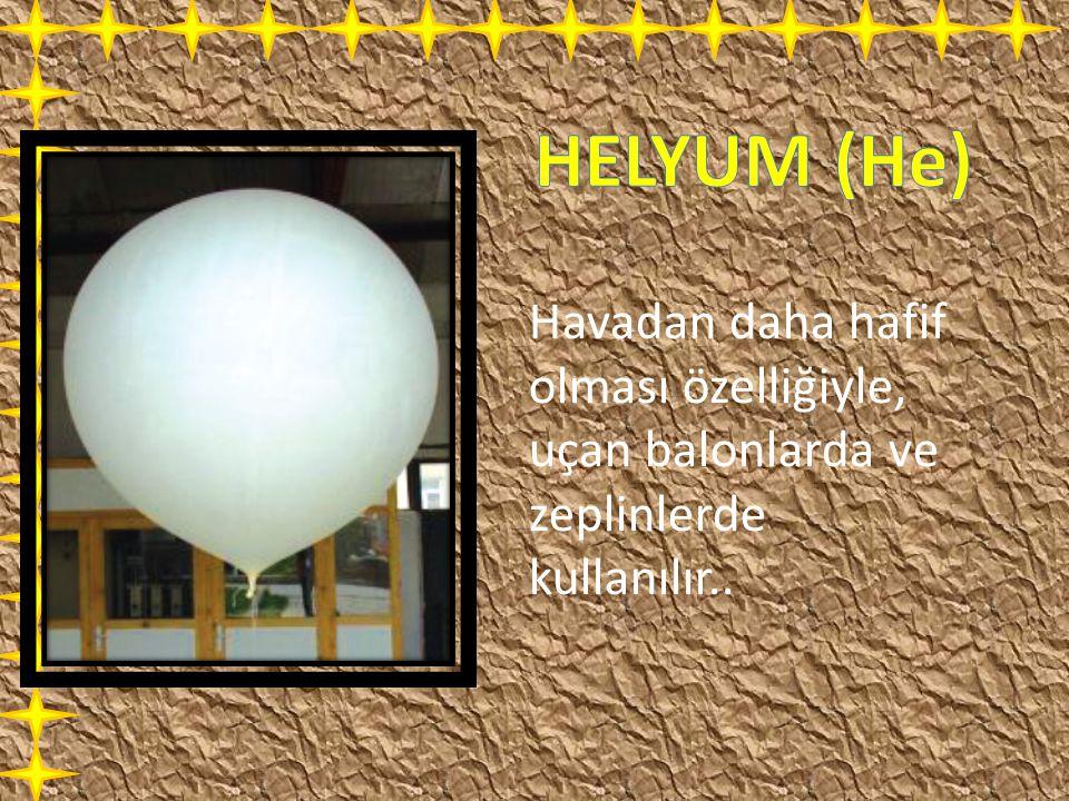 Havadan daha hafif olması özelliğiyle, uçan balonlarda ve zeplinlerde kullanılır..