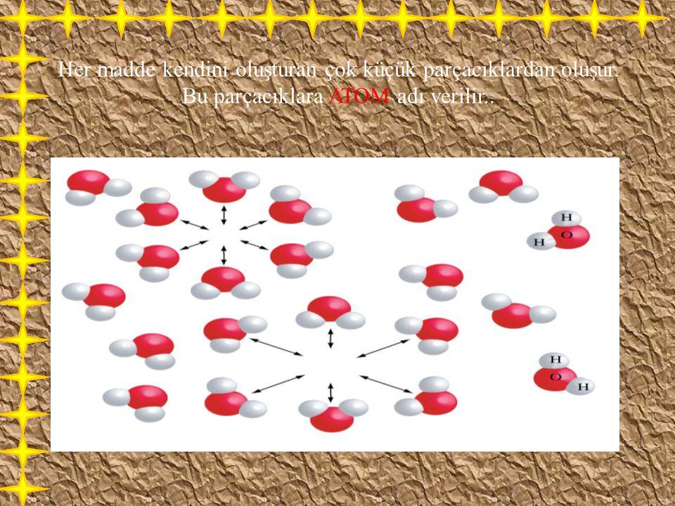 Her madde kendini oluşturan çok küçük parçacıklardan oluşur. Bu parçacıklara ATOM adı verilir..