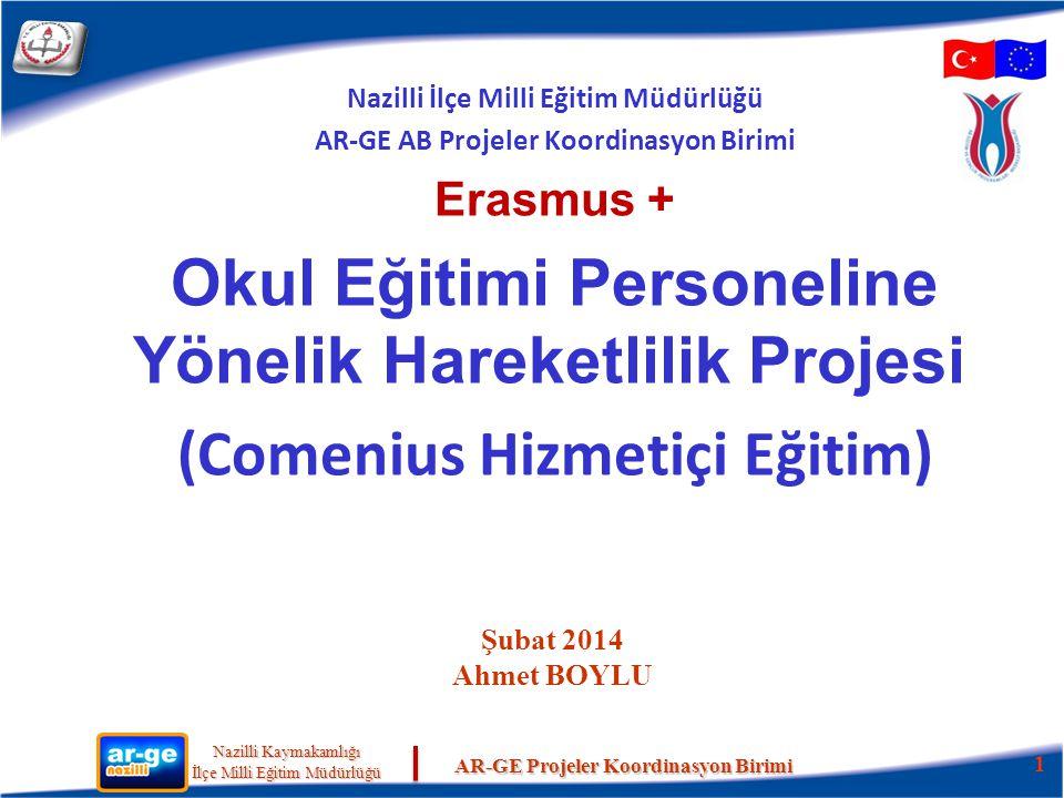 Nazilli Kaymakamlığı Nazilli Kaymakamlığı İlçe Milli Eğitim Müdürlüğü İlçe Milli Eğitim Müdürlüğü AR-GE Projeler Koordinasyon Birimi Personel hareketliliği: 1.