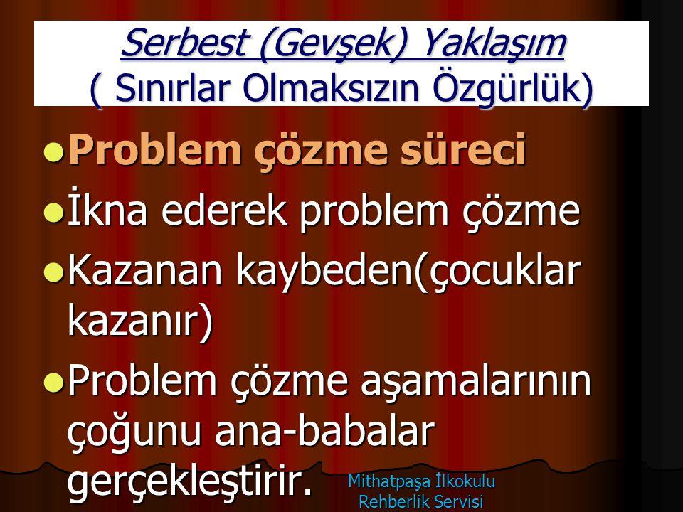 Serbest (Gevşek) Yaklaşım ( Sınırlar Olmaksızın Özgürlük) Problem çözme süreci Problem çözme süreci İkna ederek problem çözme İkna ederek problem çözm
