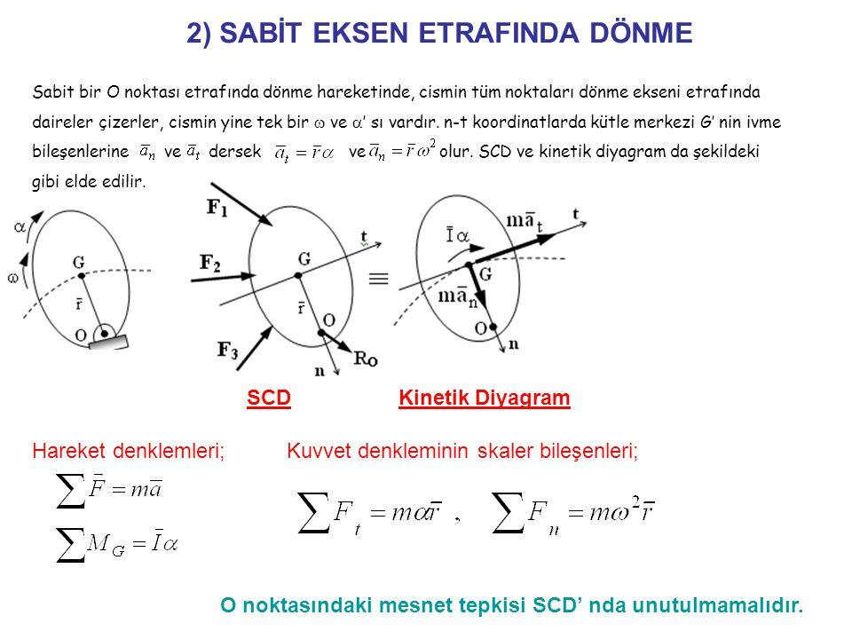 2) SABİT EKSEN ETRAFINDA DÖNME Hareket denklemleri;Kuvvet denkleminin skaler bileşenleri; O noktasındaki mesnet tepkisi SCD' nda unutulmamalıdır.