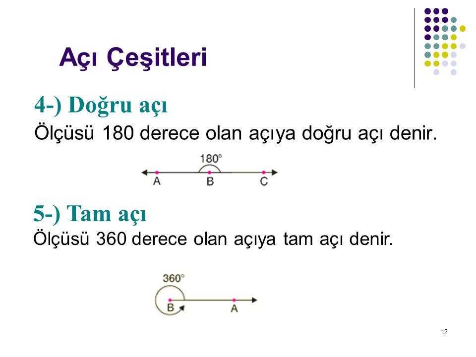 12 Açı Çeşitleri 4-) Doğru açı Ölçüsü 180 derece olan açıya doğru açı denir. 5-) Tam açı Ölçüsü 360 derece olan açıya tam açı denir.
