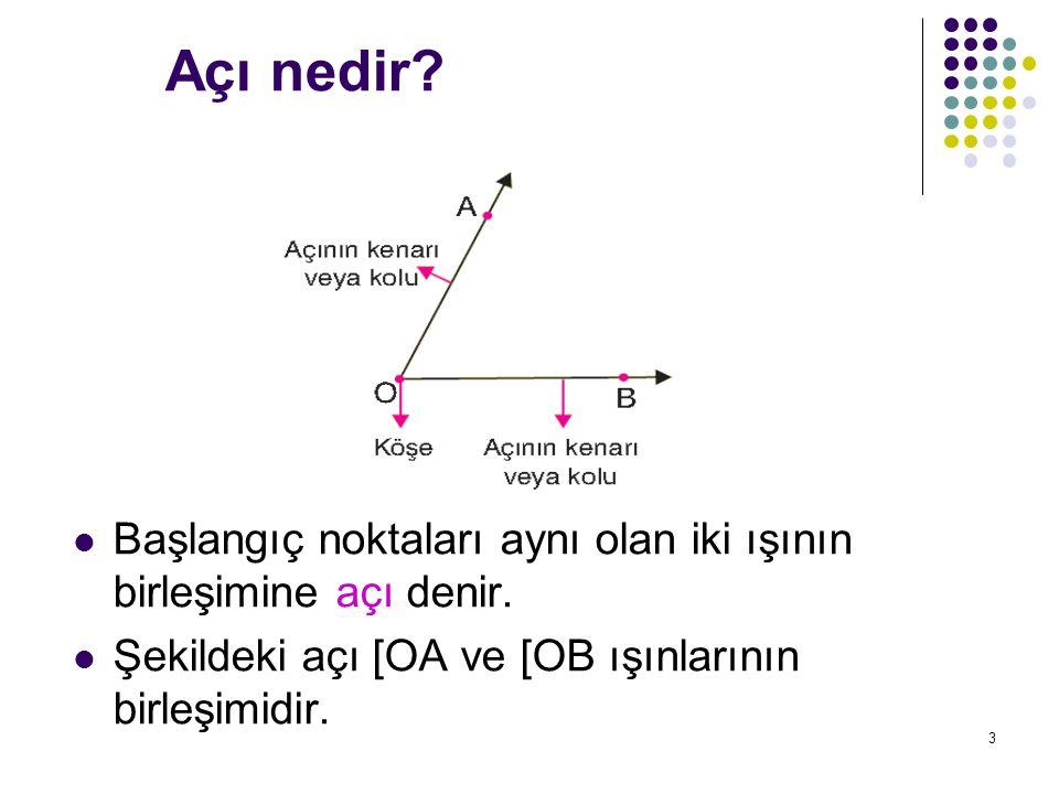 3 Açı nedir? Başlangıç noktaları aynı olan iki ışının birleşimine açı denir. Şekildeki açı [OA ve [OB ışınlarının birleşimidir.