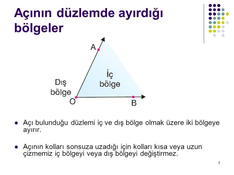 7 Açının düzlemde ayırdığı bölgeler Yukarıdaki örnekte D, E ve F noktaları açının iç bölgesinde, H ve G noktaları açının dış bölgesindedir.