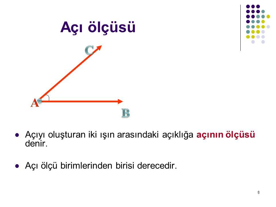 8 Açı ölçüsü Açıyı oluşturan iki ışın arasındaki açıklığa açının ölçüsü denir. Açı ölçü birimlerinden birisi derecedir.