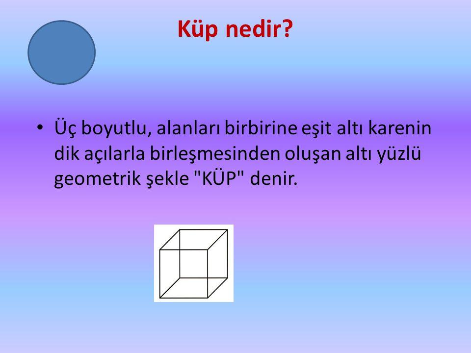 Küp nedir? Üç boyutlu, alanları birbirine eşit altı karenin dik açılarla birleşmesinden oluşan altı yüzlü geometrik şekle