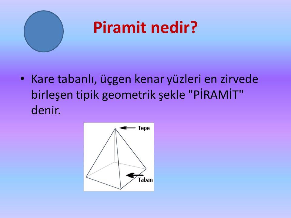 Piramit nedir? Kare tabanlı, üçgen kenar yüzleri en zirvede birleşen tipik geometrik şekle