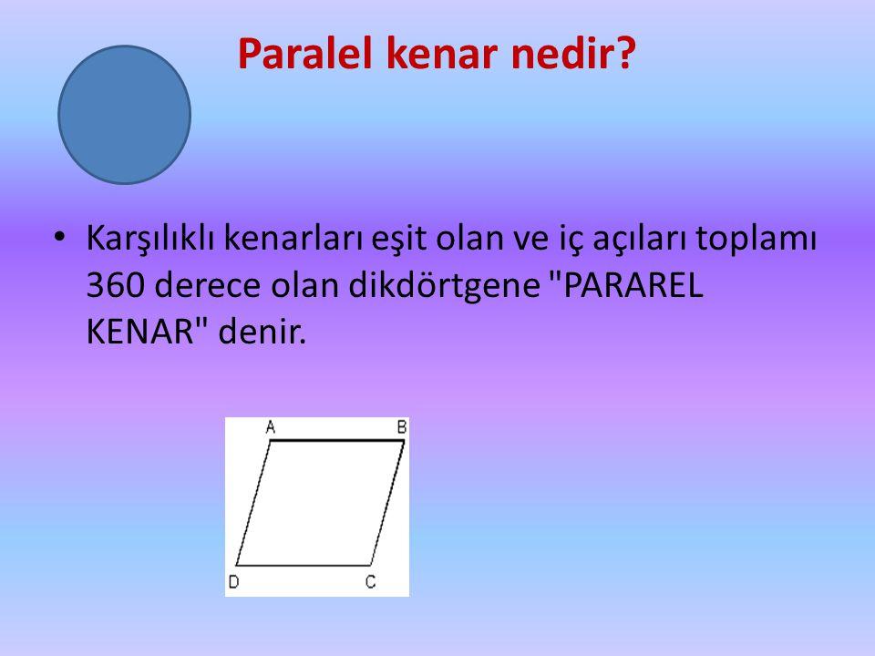 Paralel kenar nedir? Karşılıklı kenarları eşit olan ve iç açıları toplamı 360 derece olan dikdörtgene