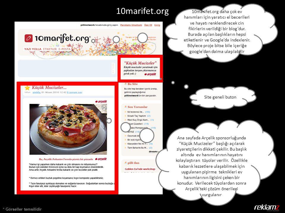 * Görseller temsilidir 10marifet.org Ana sayfada Arçelik sponsorluğunda Küçük Mucizeler başlığı açılarak ziyaretçilerin dikkati çekilir.