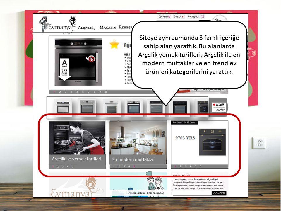 Siteye aynı zamanda 3 farklı içeriğe sahip alan yarattık. Bu alanlarda Arçelik yemek tarifleri, Arçelik ile en modern mutfaklar ve en trend ev ürünler