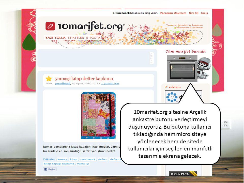 10marifet.org sitesine Arçelik ankastre butonu yerleştirmeyi düşünüyoruz. Bu butona kullanıcı tıkladığında hem micro siteye yönlenecek hem de sitede k