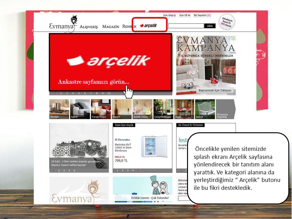 """Öncelikle yenilen sitemizde splash ekranı Arçelik sayfasına yönlendirecek bir tanıtım alanı yarattık. Ve kategori alanına da yerleştirdiğimiz """" Arçeli"""