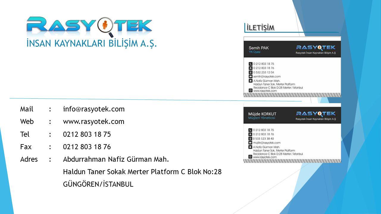 Mail:info@rasyotek.com Web:www.rasyotek.com Tel:0212 803 18 75 Fax: 0212 803 18 76 Adres: Abdurrahman Nafiz Gürman Mah. Haldun Taner Sokak Merter Plat