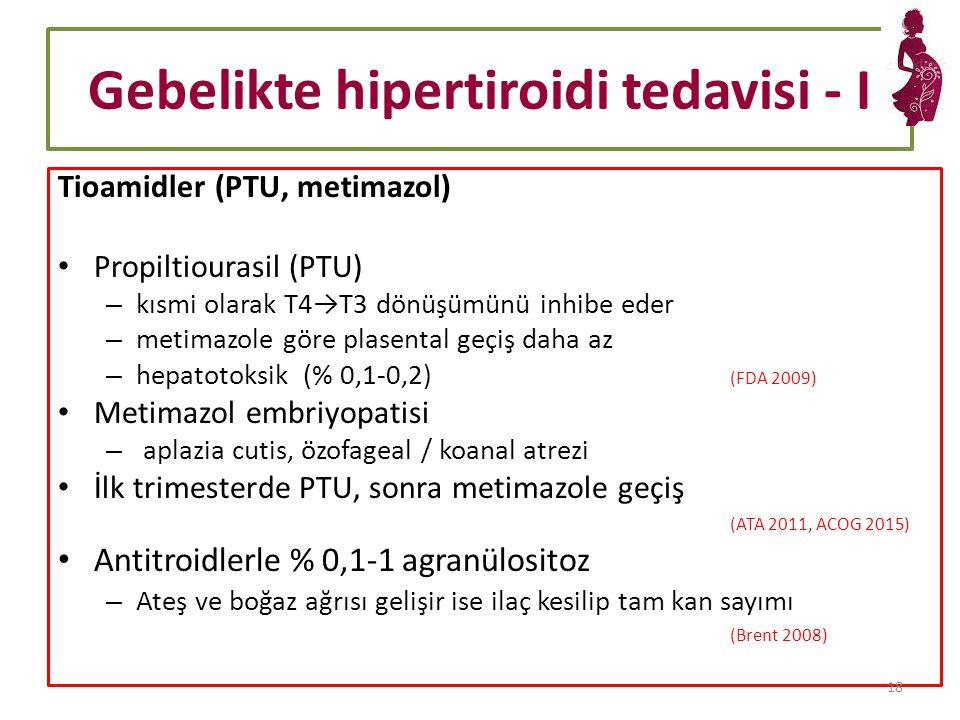 Gebelikte hipertiroidi tedavisi - I Tioamidler (PTU, metimazol) Propiltiourasil (PTU) – kısmi olarak T4→T3 dönüşümünü inhibe eder – metimazole göre plasental geçiş daha az – hepatotoksik (% 0,1-0,2) (FDA 2009) Metimazol embriyopatisi – aplazia cutis, özofageal / koanal atrezi İlk trimesterde PTU, sonra metimazole geçiş (ATA 2011, ACOG 2015) Antitroidlerle % 0,1-1 agranülositoz – Ateş ve boğaz ağrısı gelişir ise ilaç kesilip tam kan sayımı (Brent 2008) 18