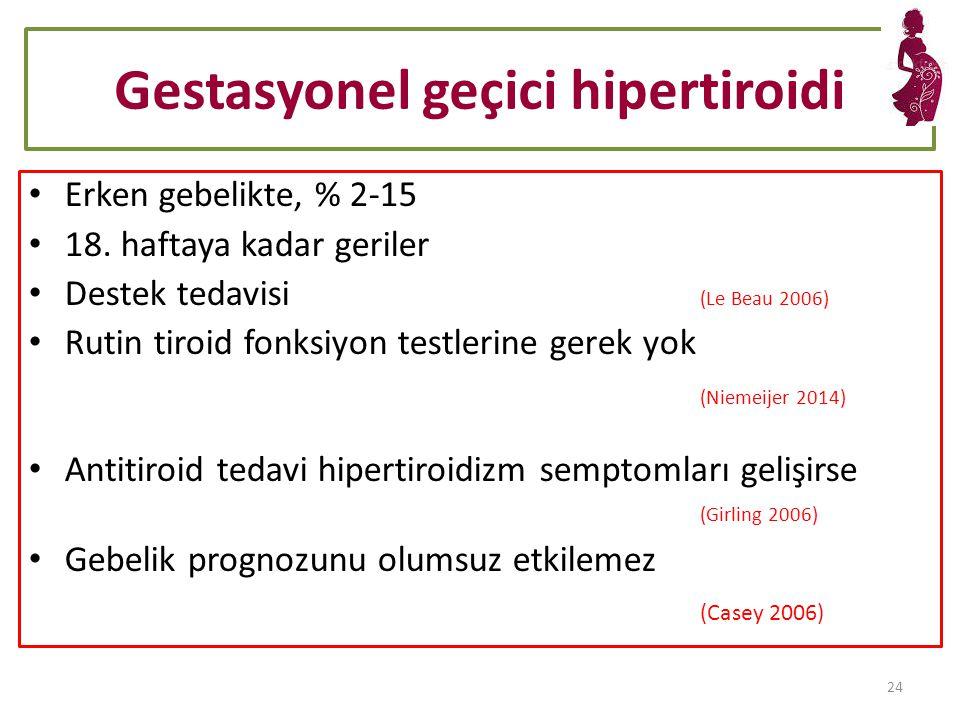 Gestasyonel geçici hipertiroidi Erken gebelikte, % 2-15 18.