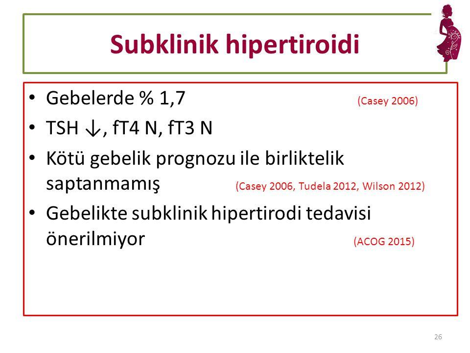Subklinik hipertiroidi Gebelerde % 1,7 (Casey 2006) TSH ↓, fT4 N, fT3 N Kötü gebelik prognozu ile birliktelik saptanmamış (Casey 2006, Tudela 2012, Wilson 2012) Gebelikte subklinik hipertirodi tedavisi önerilmiyor (ACOG 2015) 26