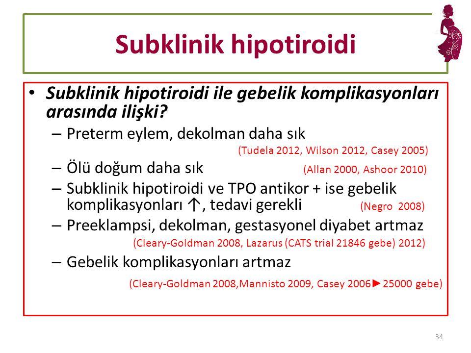 Subklinik hipotiroidi Subklinik hipotiroidi ile gebelik komplikasyonları arasında ilişki.