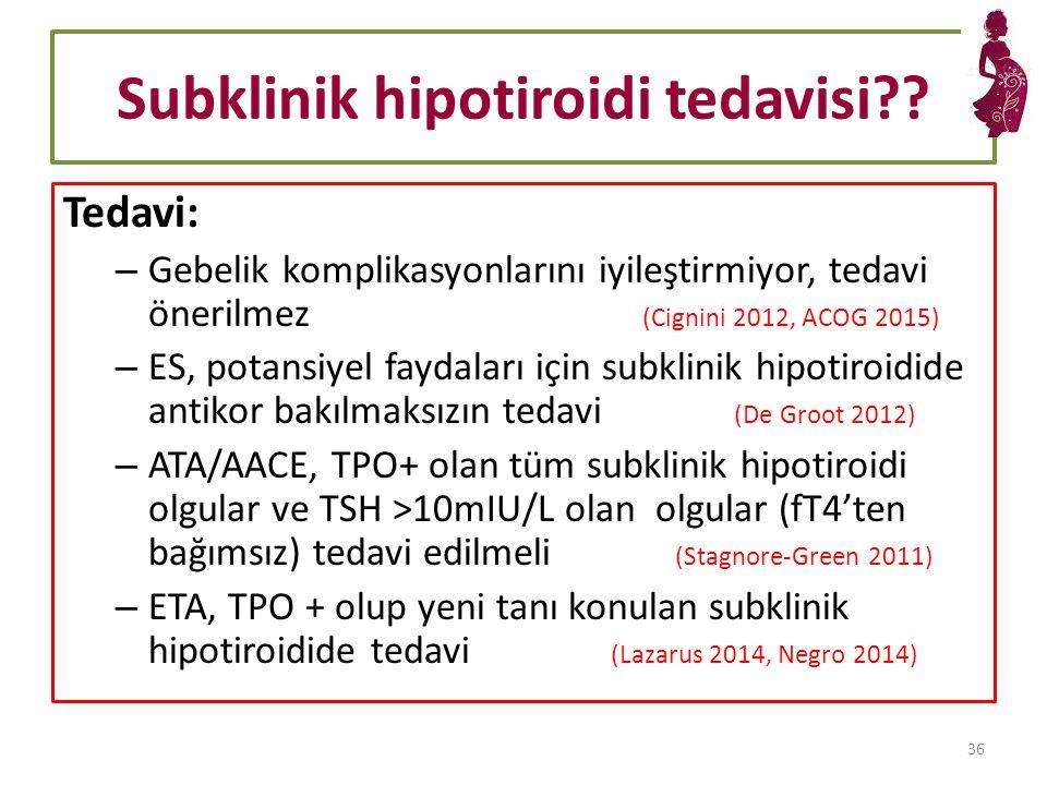 Subklinik hipotiroidi tedavisi?.