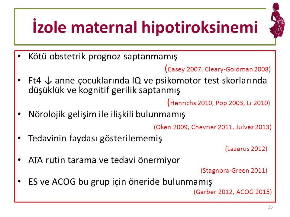 İzole maternal hipotiroksinemi Kötü obstetrik prognoz saptanmamış ( Casey 2007, Cleary-Goldman 2008) Ft4 ↓ anne çocuklarında IQ ve psikomotor test skorlarında düşüklük ve kognitif gerilik saptanmış ( Henrichs 2010, Pop 2003, Li 2010) Nörolojik gelişim ile ilişkili bulunmamış (Oken 2009, Chevrier 2011, Julvez 2013) Tedavinin faydası gösterilememiş (Lazarus 2012) ATA rutin tarama ve tedavi önermiyor (Stagnora-Green 2011) ES ve ACOG bu grup için öneride bulunmamış (Garber 2012, ACOG 2015) 38