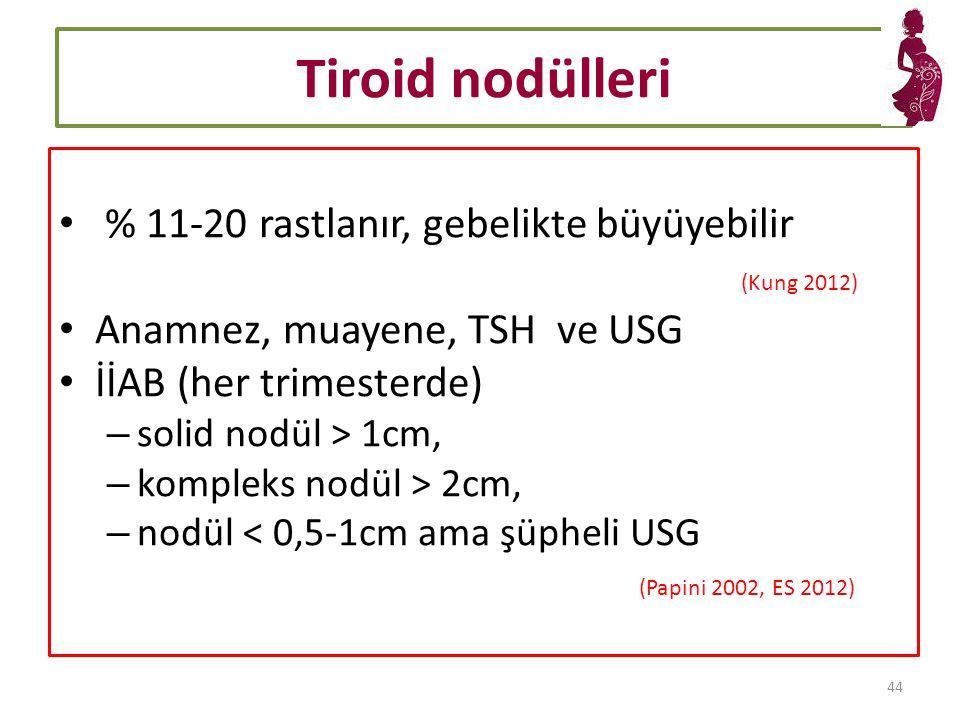 Tiroid nodülleri % 11-20 rastlanır, gebelikte büyüyebilir (Kung 2012) Anamnez, muayene, TSH ve USG İİAB (her trimesterde) – solid nodül > 1cm, – kompleks nodül > 2cm, – nodül < 0,5-1cm ama şüpheli USG (Papini 2002, ES 2012) 44