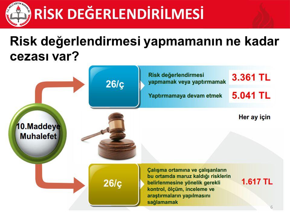 57 RİSK DEĞERLENDİRİLMESİ Risk kontrol tedbirlerinin kapsamı oldukça geniş olup, risk yönetimi yaklaşımı ile ele alınmalıdır.