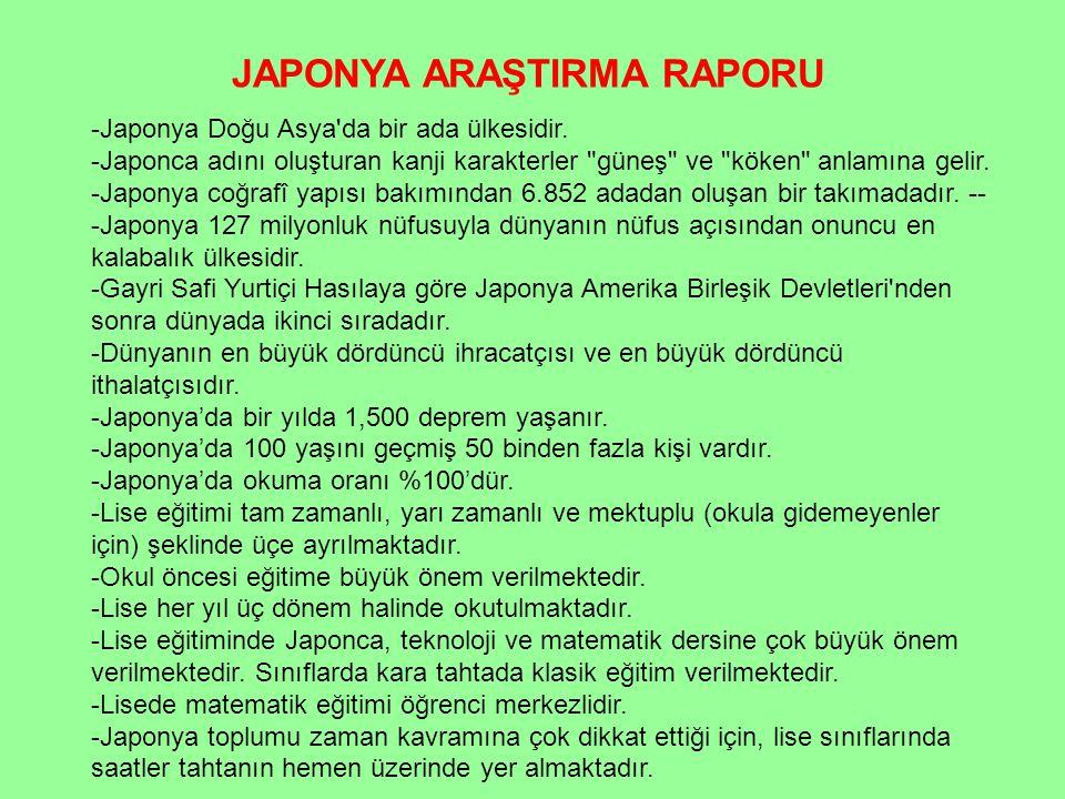 JAPONYA ARAŞTIRMA RAPORU -Japonya Doğu Asya'da bir ada ülkesidir. -Japonca adını oluşturan kanji karakterler