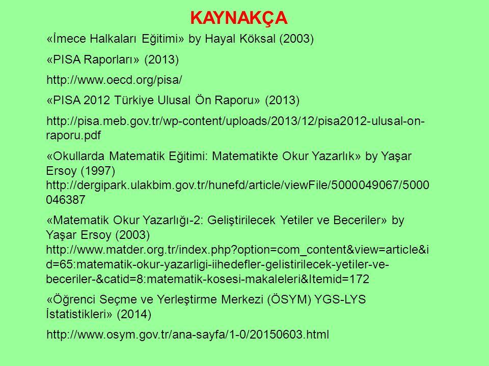 «İmece Halkaları Eğitimi» by Hayal Köksal (2003) «PISA Raporları» (2013) http://www.oecd.org/pisa/ «PISA 2012 Türkiye Ulusal Ön Raporu» (2013) http://