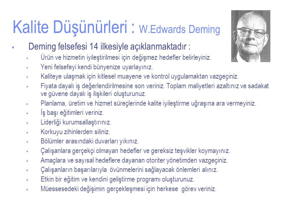 Kalite Düşünürleri : W.Edwards Deming  Deming felsefesi 14 ilkesiyle açıklanmaktadır :  Ürün ve hizmetin iyileştirilmesi için değişmez hedefler belirleyiniz.