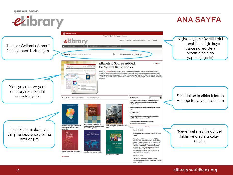 """elibrary.worldbank.org ANA SAYFA 11 Sık erişilen içerikler içinden En popüler yayınlara erişim """"News"""" sekmesi ile güncel bildiri ve olaylara kolay eri"""