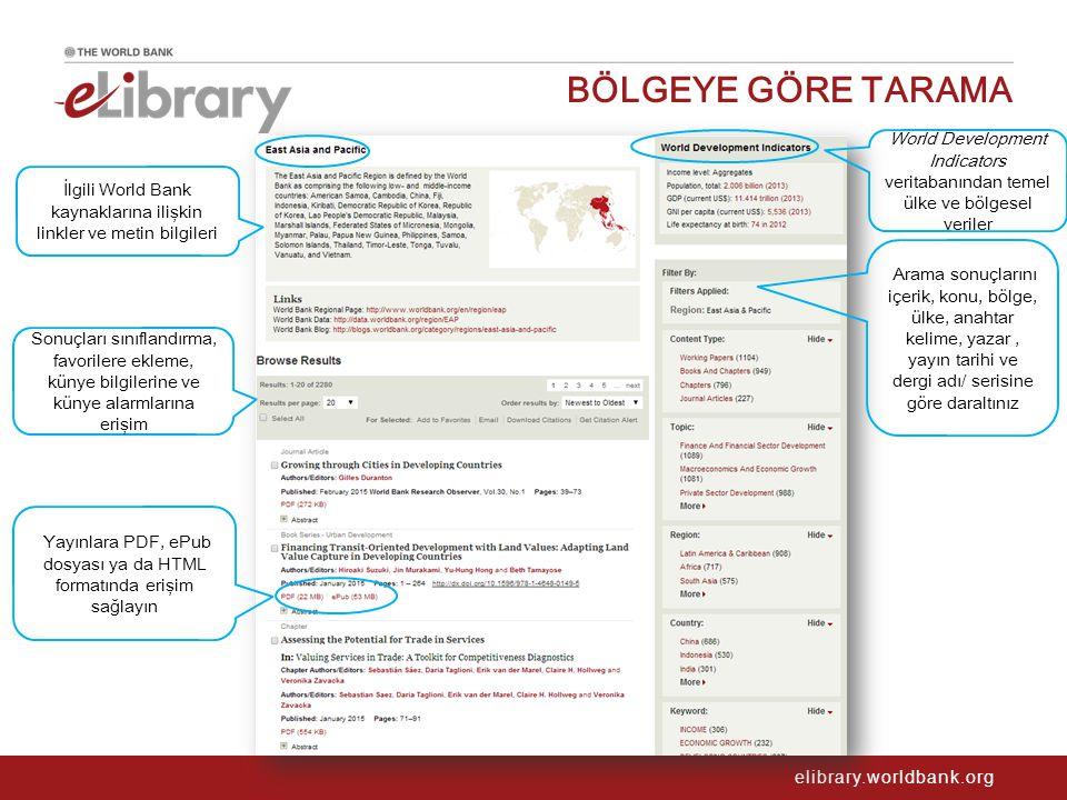 elibrary.worldbank.org BÖLGEYE GÖRE TARAMA İlgili World Bank kaynaklarına ilişkin linkler ve metin bilgileri Sonuçları sınıflandırma, favorilere eklem