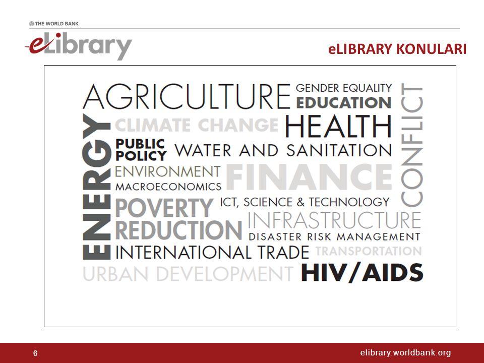 elibrary.worldbank.org eLIBRARY KONULARI 6