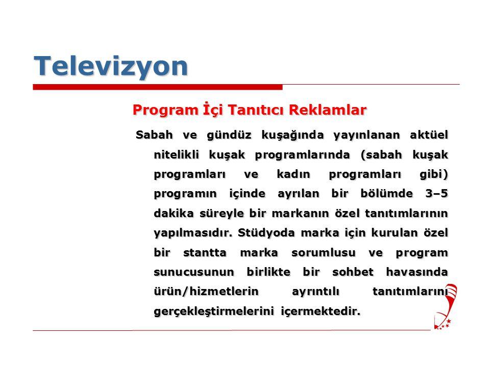 Televizyon Program İçi Tanıtıcı Reklamlar Sabah ve gündüz kuşağında yayınlanan aktüel nitelikli kuşak programlarında (sabah kuşak programları ve kadın programları gibi) programın içinde ayrılan bir bölümde 3–5 dakika süreyle bir markanın özel tanıtımlarının yapılmasıdır.