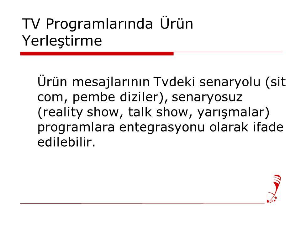 TV Programlarında Ürün Yerleştirme Ürün mesajlarının Tvdeki senaryolu (sit com, pembe diziler), senaryosuz (reality show, talk show, yarışmalar) programlara entegrasyonu olarak ifade edilebilir.
