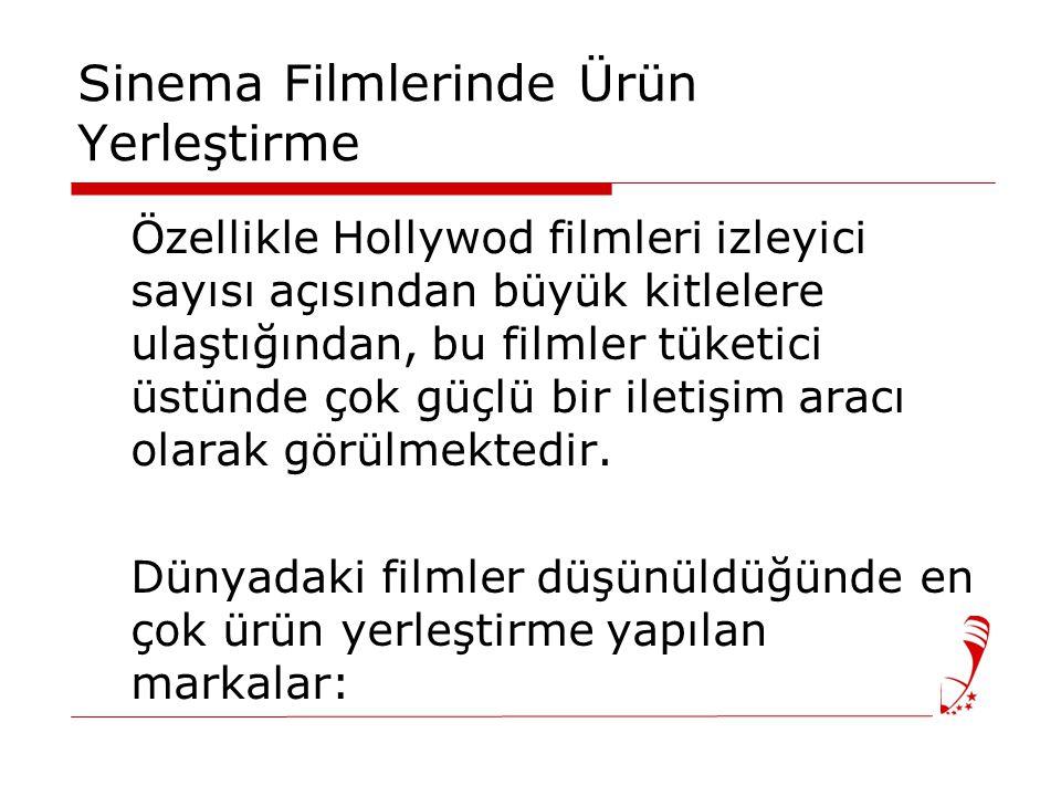 Sinema Filmlerinde Ürün Yerleştirme Özellikle Hollywod filmleri izleyici sayısı açısından büyük kitlelere ulaştığından, bu filmler tüketici üstünde çok güçlü bir iletişim aracı olarak görülmektedir.