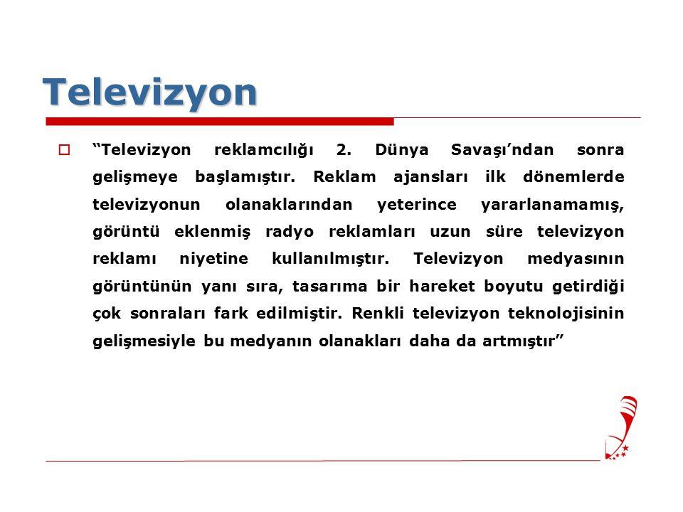 Televizyon  Televizyon reklamcılığı 2.Dünya Savaşı'ndan sonra gelişmeye başlamıştır.