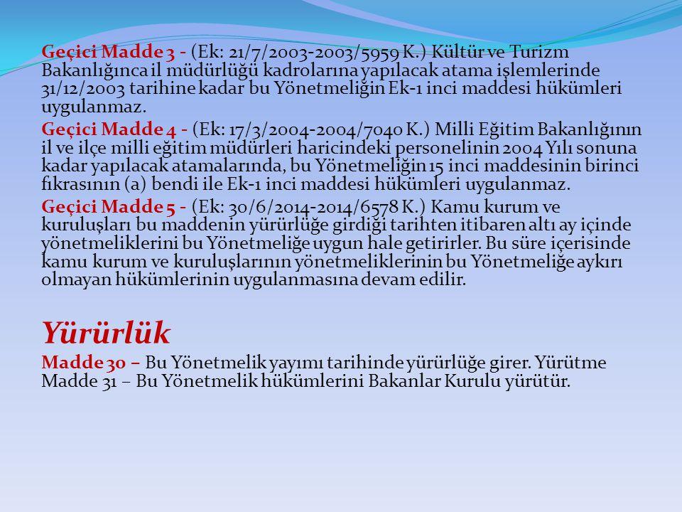 Geçici Madde 3 - (Ek: 21/7/2003-2003/5959 K.) Kültür ve Turizm Bakanlığınca il müdürlüğü kadrolarına yapılacak atama işlemlerinde 31/12/2003 tarihine