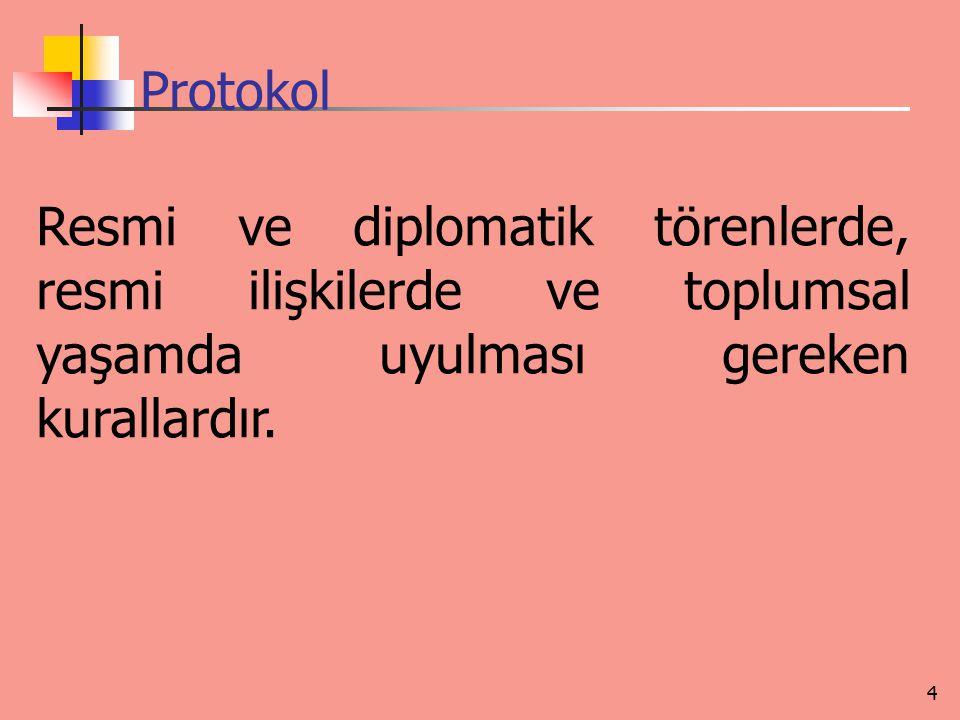 Protokol Resmi ve diplomatik törenlerde, resmi ilişkilerde ve toplumsal yaşamda uyulması gereken kurallardır. 4