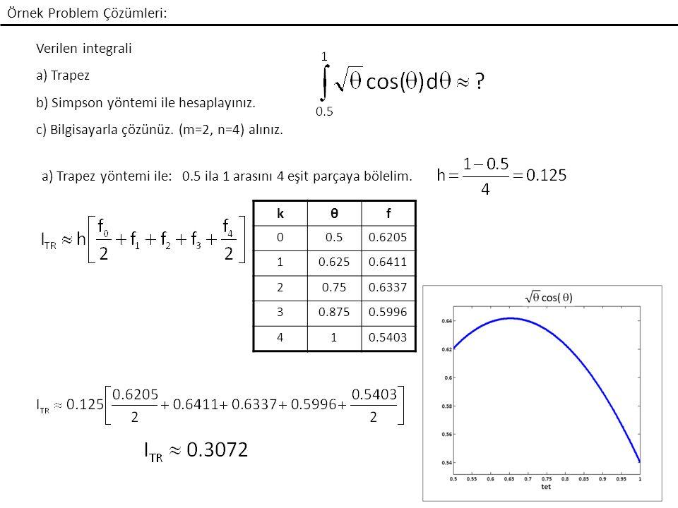 Örnek Problem Çözümleri: Verilen integrali a) Trapez b) Simpson yöntemi ile hesaplayınız.