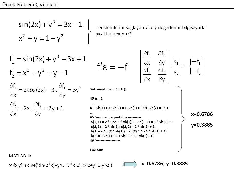 Örnek Problem Çözümleri: Denklemlerini sağlayan x ve y değerlerini bilgisayarla nasıl bulursunuz.