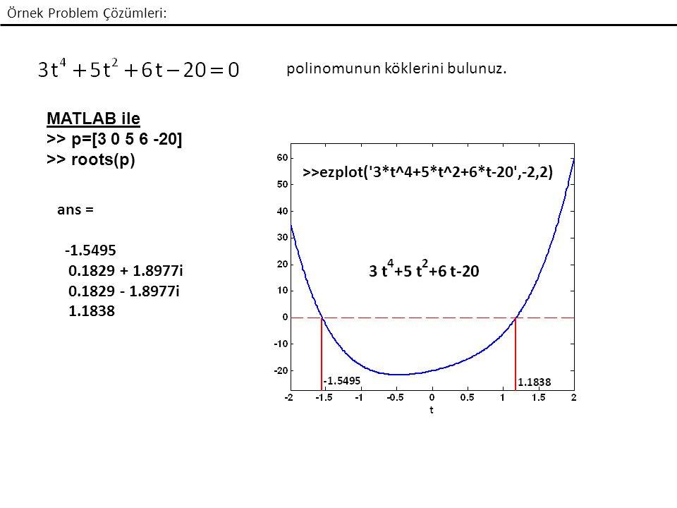 Örnek Problem Çözümleri: polinomunun köklerini bulunuz.