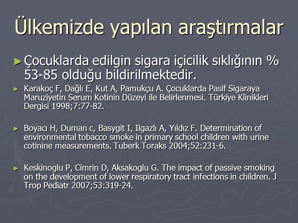 Ülkemizde yapılan araştırmalar ► Çocuklarda edilgin sigara içicilik sıklığının % 53-85 olduğu bildirilmektedir. ► Karakoç F, Dağlı E, Kut A, Pamukçu A