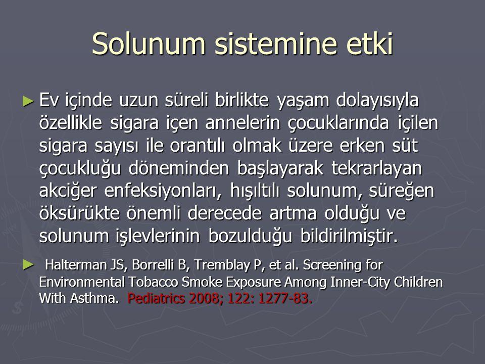 Solunum sistemine etki ► Ev içinde uzun süreli birlikte yaşam dolayısıyla özellikle sigara içen annelerin çocuklarında içilen sigara sayısı ile orantı