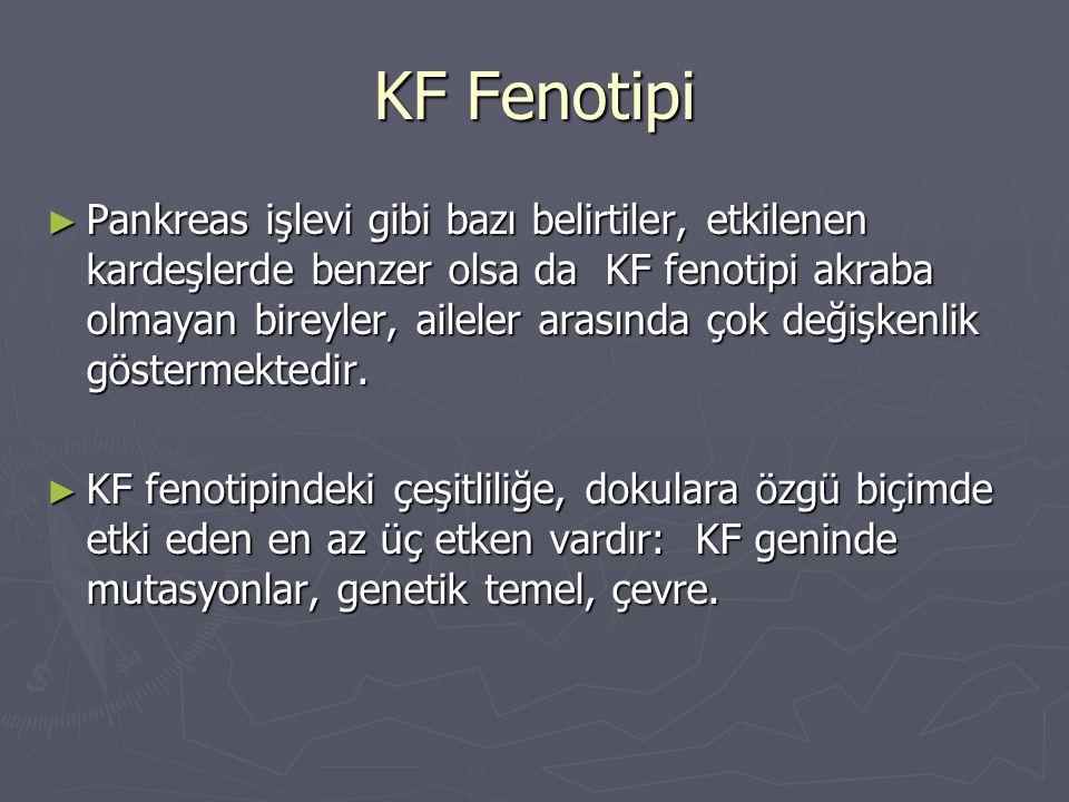 KF Fenotipi ► Pankreas işlevi gibi bazı belirtiler, etkilenen kardeşlerde benzer olsa da KF fenotipi akraba olmayan bireyler, aileler arasında çok değ
