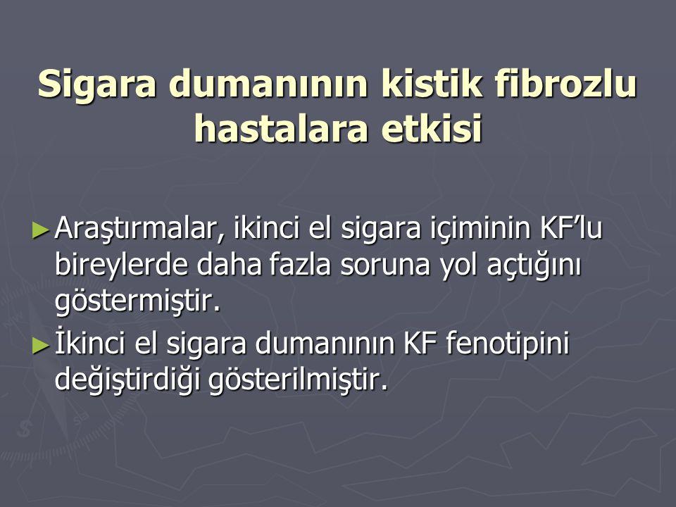 Sigara dumanının kistik fibrozlu hastalara etkisi ► Araştırmalar, ikinci el sigara içiminin KF'lu bireylerde daha fazla soruna yol açtığını göstermişt