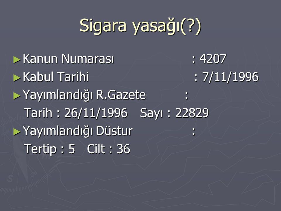 Sigara yasağı(?) ► Kanun Numarası : 4207 ► Kabul Tarihi : 7/11/1996 ► Yayımlandığı R.Gazete : Tarih : 26/11/1996 Sayı : 22829 Tarih : 26/11/1996 Sayı