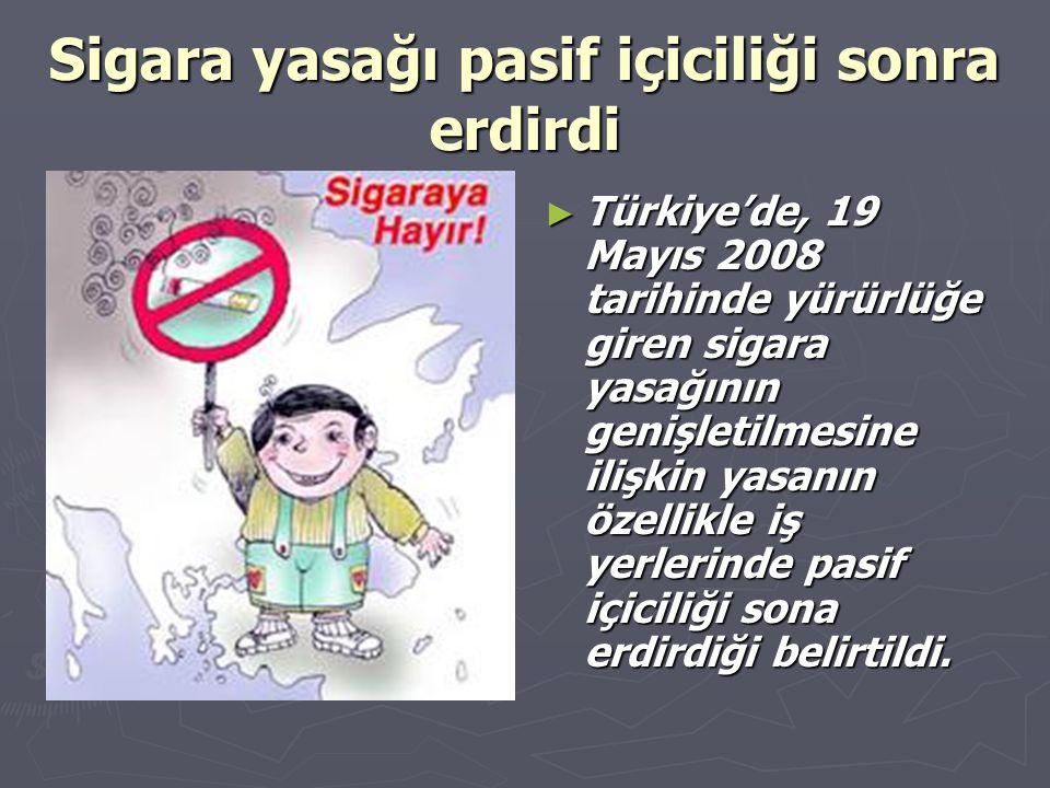 Sigara yasağı pasif içiciliği sonra erdirdi ► Türkiye'de, 19 Mayıs 2008 tarihinde yürürlüğe giren sigara yasağının genişletilmesine ilişkin yasanın öz