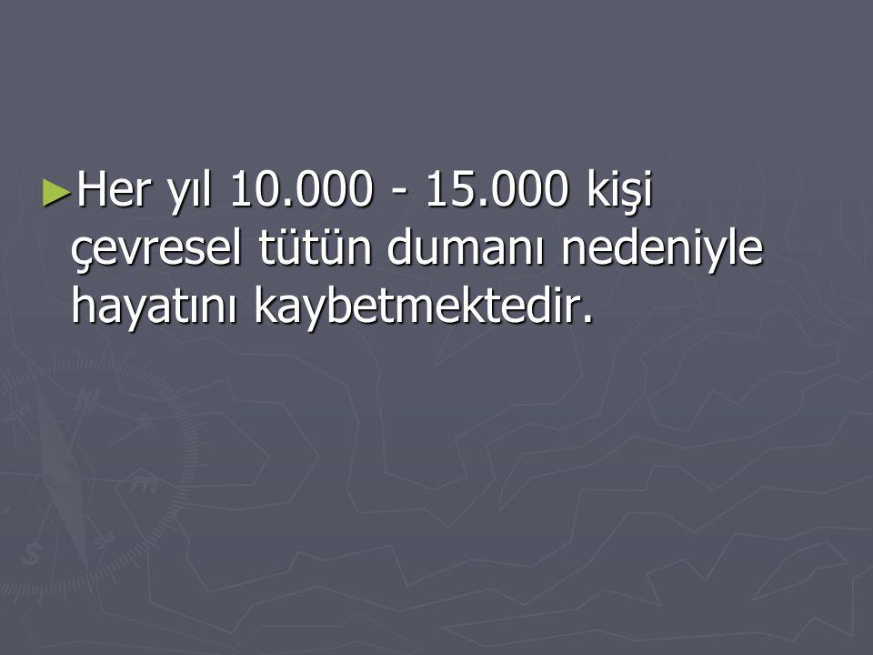 ► Her yıl 10.000 - 15.000 kişi çevresel tütün dumanı nedeniyle hayatını kaybetmektedir.